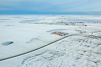 Winter aerial of Prudhoe Bay, also known as Deadhorse, on the north coast of Alaska, Beaufort Sea.
