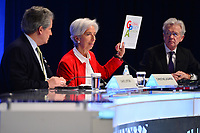 Washington, DC - April 11, 2019: IMF Managing Director Christine Lagarde holds a copy of the Global Policy Agenda during a press conference at the IMF/World Bank Spring Meetings in Washington, D.C., April 11, 2019.  (Photo by Don Baxter/Media Images International)