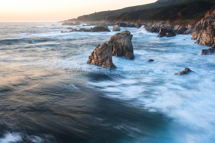 Sea stacks on the shor of california, big sur coast area.