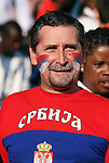 13 JUN 2010:  Serbia fan in the stands.  The Serbia National Team played the Ghana National Team at Loftus Versfeld Stadium in Tshwane/Pretoria, South Africa in a 2010 FIFA World Cup Group D match.