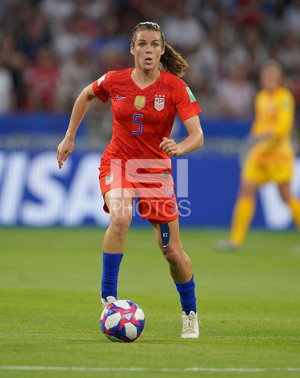 DECINES-CHARPIEU, FRANCE - JULY 02: Kelley O'Hara #5 during a 2019 FIFA Women's World Cup France Semi-Final match between England and the United States at Groupama Stadium on July 02, 2019 in Decines-Charpieu, France.