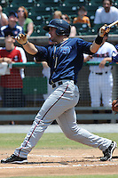 Mobile BayBears Paul Goldschmidt #43 swings at a pitch during a game against the Tennessee Smokies at Smokies Park in Kodak,  Tennessee;  May 22, 2011.  The Smokies won the game 4-2.  Photo By Tony Farlow/Four Seam Images