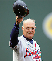 May 8, 2008: Manager Randy Ingle of the Rome Braves acknowledges the applause of the crowd as the public address announcer notes his 1,000th career win the previous day. Rome is the Class A affiliate of the Atlanta Braves. His record-setting win came May 7, 2008, against the Greenville Drive at Fluor Field at the West End in Greenville, S.C. Photo by:  Tom Priddy/Four Seam Images