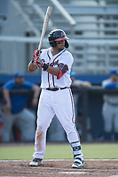 Ray Hernandez (28) of the Danville Braves at bat against the Bluefield Blue Jays at American Legion Post 325 Field on July 28, 2019 in Danville, Virginia. The Blue Jays defeated the Braves 9-7. (Tracy Proffitt/Four Seam Images)