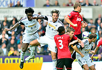 Swansea v Manchester UnitedPlayed at the Liberty Stadium, SwanseaBarclays Premier League 2013-08-17Manchester United take on Swansea city in their first game of the Premier League 2013/2014 season at the Liberty Stadium.  Michu missing a head on goal.<br /> Pictures by Amy Husband.