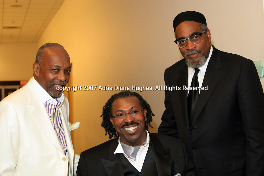 Leon Huff, Teddy Pendergrass and Kenny Gamble backstage at the 25TH Anniversary Celebration in Philadelphia, PA, Kimmel Center.