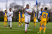 Japhet Tanganga of Spurs U19 celebrates scoring has goal during the UEFA Youth League match between Tottenham Hotspur U19 and Apoel Nicosia (APOEL) at Tottenham Hotspur Training Ground, Hotspur Way, England on 6 December 2017. Photo by Andy Rowland.