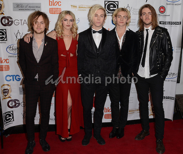 16 November - Hollywood, Ca - R5, Rocky Lynch, Rydel Lynch, Ross Lynch, Riker Lynch, Ellington Ratliff. Arrivals for the World Choreography Awards held at The Montalban Theater. Photo Credit: Birdie Thompson/AdMedia
