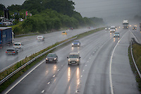 2016 06 29 Rain and wind in Porthcawl and the M4 motorway, Wales, UK