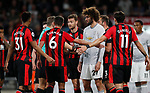 Bournemouth players surround referee Graham Scott to complain about Paul Pogba's alleged dive during the premier league match at the Vitality Stadium, Bournemouth. Picture date 18th April 2018. Picture credit should read: David Klein/Sportimage