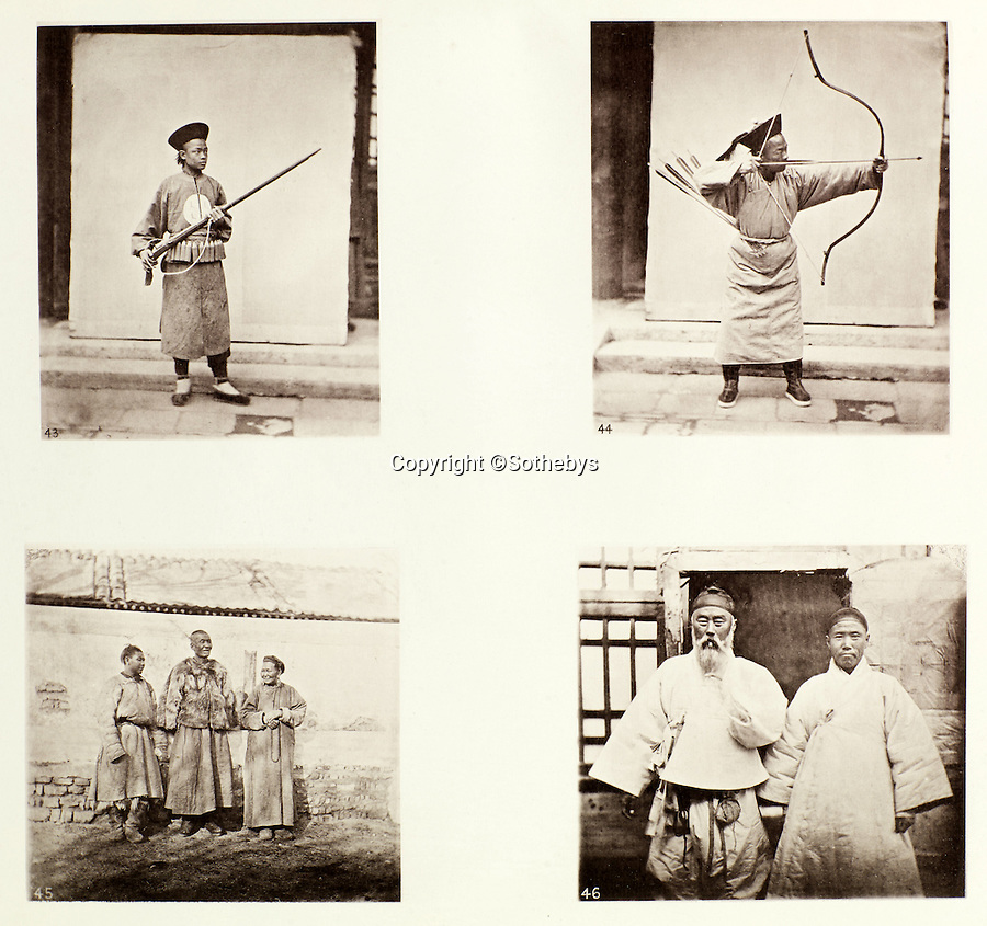 BNPS.co.uk (01202 558833)<br /> Pic: Sothebys/BNPS<br /> <br /> Manchu soldiers (top) and Mongols (below).<br /> <br /> Rare early photographs revealing what life in China looked like for the first time to the 19th century public have emerged 140 years after they were taken. <br /> <br /> The stunning collection - comprising 200 black and white photographs of Far East landscapes and wide-ranging personal portraits of everybody from rural peasants to senior government officials - was the first volume of photos from the region to ever be included in a travel book. <br /> <br /> Produced at a time when camera technology was still in its infancy, they were taken by celebrated Scottish photographer John Thomson between 1873 and 1874 during a 4,000-mile expedition across the country. <br /> <br /> And now one of the last remaining copies of the album still known to exist is set to go under the hammer at Sotheby's in London on November 7 with an estimate of £35,000.