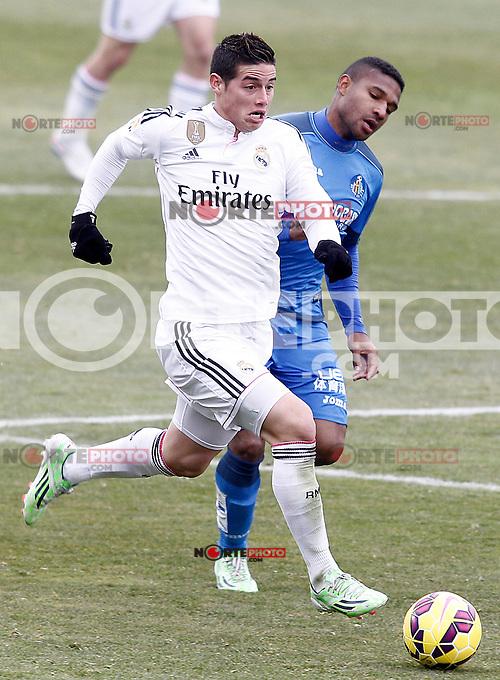 Getafe's Jorge Sammir (r) and Real Madrid's James Rodriguez during La Liga match.January 18,2013. (ALTERPHOTOS/Acero) /NortePhoto<br /> NortePhoto.com