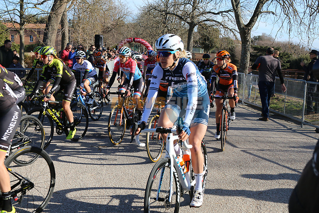 The start of the Strade Bianche Women Elite 2019 running 133km from Siena to Siena, held over the white gravel roads of Tuscany, Italy. 9th March 2019.<br /> Picture: Seamus Yore | Cyclefile<br /> <br /> <br /> All photos usage must carry mandatory copyright credit (© Cyclefile | Seamus Yore)