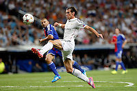 Gareth Bale of Real Madrid and Samuel of FC Basel 1893 during the Champions League group B soccer match between Real Madrid and FC Basel 1893 at Santiago Bernabeu Stadium in Madrid, Spain. September 16, 2014. (ALTERPHOTOS/Caro Marin) /NortePhoto.com