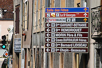 street signs to wine producers nuits-st-georges cote de nuits burgundy france
