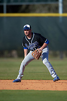 Indiana State Sycamores second baseman Cody Gardner (4) during a game against the Boston College Eagles on February 27, 2016 at North Charlotte Regional Park in Port Charlotte, Florida.  Boston College defeated Indiana State 5-3.  (Mike Janes/Four Seam Images)