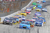 2 June 2013: NASCAR Sprint Cup Driver Jimmie Johnson (48) leads the field after jumping a restart during the FedEx 400 at Dover International Speedway in Dover, Delaware.