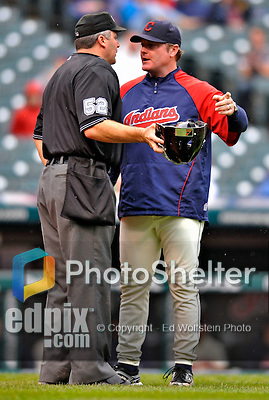 13 September 2008: Cleveland Indians' Manager Eric Wedge discusses a call with the officials during a game against the Kansas City Royals at Progressive Field in Cleveland, Ohio. The Royals defeated the Indians 8-3 in the first game of their rain delayed double-header...Mandatory Photo Credit: Ed Wolfstein Photo