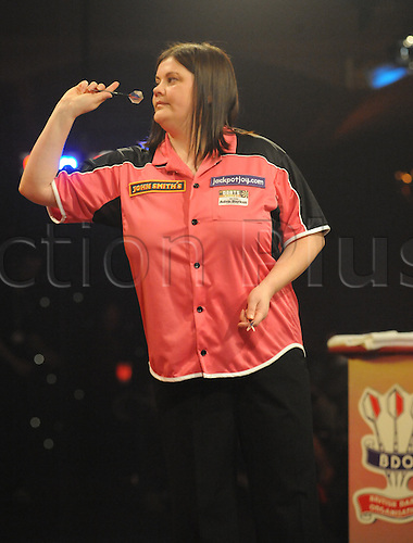 06.01.2011 Day Six of the World Professional Darts Championships from Lakeside. quarter finals day. Losing ladies semi finalist Irina Armstrong who lost 2-0 to Trina Gulliver