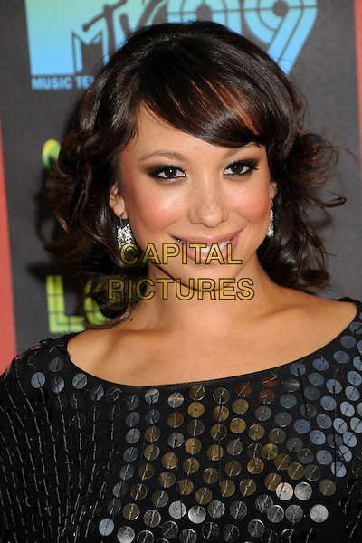 CHERYL BURKE .MTV Los Premios Awards 2009 held at the Gibson Amphitheatre, Universal City, California, USA, 15th October 2009..portrait headshot black sequined sequin fringe smiling .CAP/ADM/BP.©Byron Purvis/Admedia/Capital Pictures