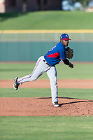 AZL Rangers relief pitcher Ediberto Encarnacion (31) follows through on his delivery during an Arizona League game against the AZL Giants Black at Scottsdale Stadium on August 4, 2018 in Scottsdale, Arizona. The AZL Giants Black defeated the AZL Rangers by a score of 3-2 in the first game of a doubleheader. (Zachary Lucy/Four Seam Images)