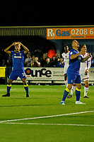 AFC Wimbledon's Lyle Taylor sees a chance go begging during the Sky Bet League 1 match between AFC Wimbledon and MK Dons at the Cherry Red Records Stadium, Kingston, England on 22 September 2017. Photo by Carlton Myrie / PRiME Media Images.