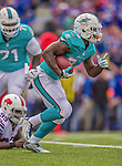 14 September 2014: Miami Dolphins running back Damien Williams rushes for yardage against the Buffalo Bills in the second quarter at Ralph Wilson Stadium in Orchard Park, NY. The Bills defeated the Dolphins 29-10 to win their home opener and start the season with a 2-0 record. Mandatory Credit: Ed Wolfstein Photo *** RAW (NEF) Image File Available ***