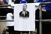 Leicester City fans hang a t shirt in honour of the late Leicester City owner Vichai Srivaddhanaprabha in the stands prior the Premier League match between Cardiff City and Leicester City at Cardiff City Stadium in Cardiff, Wales, UK. Saturday 3rd November 2018