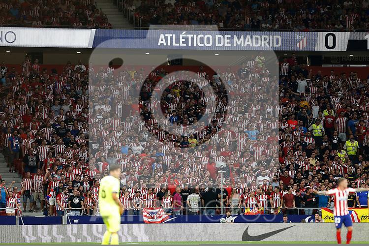 -Atleti'0s supporters during La Liga match. Aug 18, 2019. (ALTERPHOTOS/Manu R.B.)-Atleti'0s supporters  during the Spanish La Liga match between Atletico de Madrid and Getafe CF at Wanda Metropolitano Stadium in Madrid, Spain