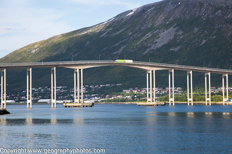 Tromso Bridge, cantilever road bridge in the city of Tromso, Norway,