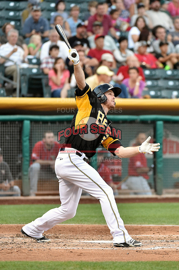 Brennan Boesch (23) of the Salt Lake Bees at bat against the El Paso Chihuahuas in Pacific Coast League action at Smith's Ballpark on August 7, 2014 in Salt Lake City, Utah.  (Stephen Smith/Four Seam Images)