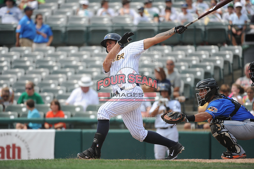 Trenton Thunder catcher Gary Sanchez (35) during game against the Akron RubberDucks at ARM & HAMMER Park on July 14, 2014 in Trenton, NJ.  Akron defeated Trenton 5-2.  (Tomasso DeRosa/Four Seam Images)