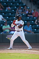 Yeyson Yrizarri (2) of the Winston-Salem Dash at bat against the Carolina Mudcats at BB&T Ballpark on June 1, 2019 in Winston-Salem, North Carolina. The Mudcats defeated the Dash 6-3 in game one of a double header. (Brian Westerholt/Four Seam Images)
