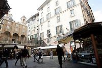 Una veduta di Piazza Banchi a Genova.<br /> A view of Piazza Banchi in Genoa.<br /> UPDATE IMAGES PRESS/Riccardo De Luca