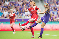 Orlando, FL - Saturday April 22, 2017: Victoria Huster, Danica Evans during a regular season National Women's Soccer League (NWSL) match between the Orlando Pride and the Washington Spirit at Orlando City Stadium.