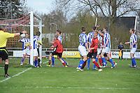 VOETBAL: AKKRUM: Sportpark 'De Meine', 19-04-2015, vv Akkrum - vv Gorredijk, Eindstand 1-2, Frido Boersma (#9 | vv Akkrum) scoort de aansluitingstreffer, ©foto Martin de Jong