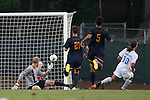 29 August 2014: North Carolina's Andy Craven (10) scores a goal past Cal's Kevin Peach (left), Joshua Morton (21) and Dylan Serrano (5). The University of North Carolina Tar Heels hosted the University of California Bears at Fetzer Field in Chapel Hill, NC in a 2014 NCAA Division I Men's Soccer match. North Carolina won the game 3-1.