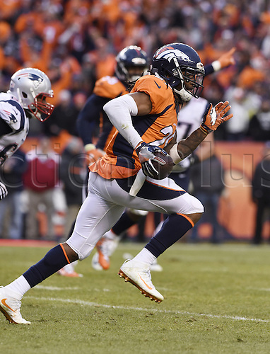 24.01.2016. Denver, Colorado, USA. The NFL AFC Championship American Football match. Broncos cornerback Brandon Roby sprints out of the end zone after an interception on a two-point conversion during the fourth quarter of the AFC Championship game on Sunday