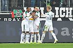 04.11.2018, Borussia Park , Moenchengladbach, GER, 1. FBL,  Borussia Moenchengladbach vs. Fortuna Duesseldorf,<br />  <br /> DFL regulations prohibit any use of photographs as image sequences and/or quasi-video<br /> <br /> im Bild / picture shows: <br /> die Gladbacher freuen sich &uuml;ber das 1:0 Oscar Wendt (Gladbach #17), Thorgan Hazard (Gladbach #10),  Florian Neuhaus (Gladbach #32), <br /> <br /> Foto &copy; nordphoto / Meuter