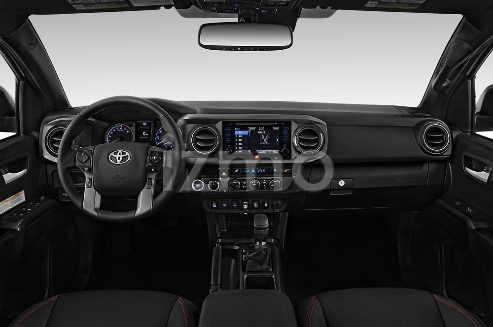 Stock photo of straight dashboard view of a 2019 Toyota Tacoma TRD Pro 4 Door Pick Up
