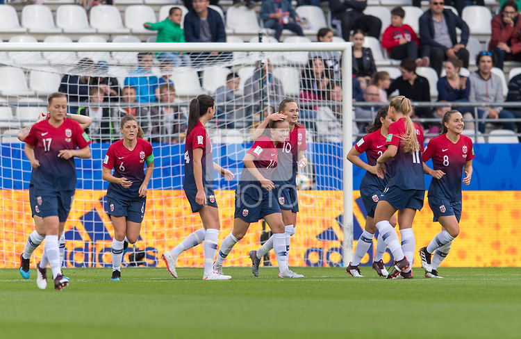 REIMS, FRANCE - JUNE 8: Guro Reiten #16 of Norway celebrates her goal with teammate Caroline Graham Hansen #10 during a 2019 FIFA Women's World Cup match between Norway and Nigeria at Stade Auguste-Delaune on June 8, 2019 in Reims, France.