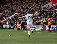 Sheffield United's Billy Sharp celebrates scoring his side's first goal in front of the Sheffield United fans.<br /> <br /> Photographer David Horton/CameraSport<br /> <br /> The Premier League - Bournemouth v Sheffield United - Saturday 10th August 2019 - Vitality Stadium - Bournemouth<br /> <br /> World Copyright © 2019 CameraSport. All rights reserved. 43 Linden Ave. Countesthorpe. Leicester. England. LE8 5PG - Tel: +44 (0) 116 277 4147 - admin@camerasport.com - www.camerasport.com