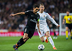 Marcos Aoas Correa, Marquinhos (L), of Paris Saint Germain fights for the ball with Cristiano Ronaldo of Real Madrid during the UEFA Champions League 2017-18 Round of 16 (1st leg) match between Real Madrid vs Paris Saint Germain at Estadio Santiago Bernabeu on February 14 2018 in Madrid, Spain. Photo by Diego Souto / Power Sport Images