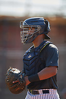 New York Yankees catcher Saul Torres (34) during an Instructional League intrasquad game on September 27, 2019 at New York Yankees Minor League Complex in Tampa, Florida.  (Mike Janes/Four Seam Images)