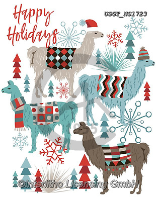 Lamont, GIFT WRAPS, GESCHENKPAPIER, PAPEL DE REGALO, paintings+++++,USGTNS1723,#gp#,#x# christmas,notebook,notebooks,lama,lamas