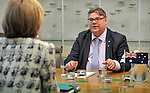 Timo Soini (R), Foeign Minister of Finland, speaks with Julie Bishop (L), Foreign Minister of Australia, at Parliament House, Canberra, Monday, February 29, 2016. AFP PHOTO/ MARK GRAHAM