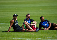 Jonathan Joseph, Darren Allinson and Kahn Fotuali'i of Bath Rugby look on. Bath Rugby pre-season training on August 8, 2018 at Farleigh House in Bath, England. Photo by: Patrick Khachfe / Onside Images