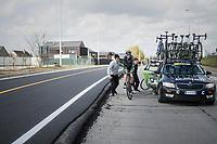 Krists Neilands (LAT/Israel Cycling Academy) being helped back on the road after a mechanical<br /> <br /> 72nd Dwars Door Vlaanderen (1.UWT)<br /> 1day race: Roeselare › Waregem BEL (203.4km)
