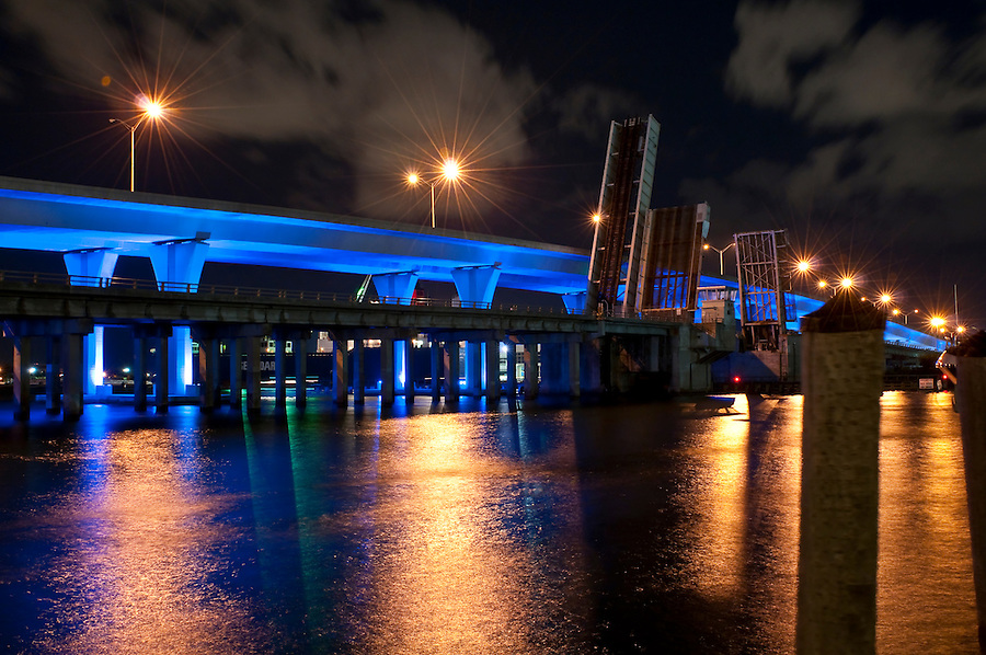 View of Bridge at night in Biscayne Bay, Miami, Florida.