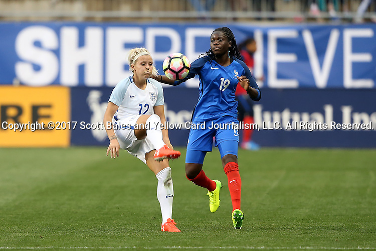 CHESTER, PA - MARCH 01: Rachel Daly (ENG) (12) and Griedge M'bock (FRA) (19). The England Women's National Team played the France Women's National Team as part of the She Believes Cup on March, 1, 2017, at Talen Engery Stadium in Chester, PA. The France won the game 2-1.